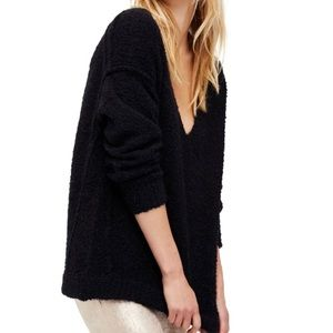 Free People oversized Lofty V-Neck Sweater